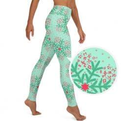 Math Yoga Leggings Mint Christmas Snowflake Pattern by Treaja®
