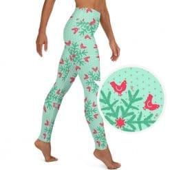Chicken Yoga Leggings Mint Christmas Snowflake Pattern by Treaja®