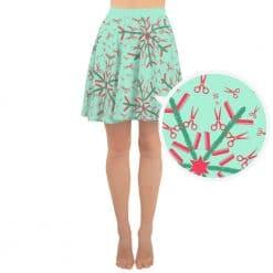 Hairdresser Skater Skirt Mint Christmas Snowflake Pattern by Treaja®