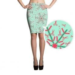 Hairdresser Pencil Skirt Mint Christmas Snowflake Pattern by Treaja®