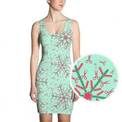Hairdresser Dress Mint Christmas Snowflake Pattern by Treaja®