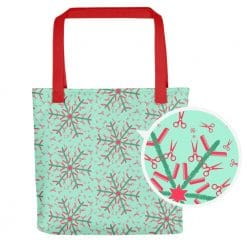 Hairdresser Tote Bag Mint Christmas Snowflake Pattern by Treaja® | Hairstylist Christmas Print Tote Bag