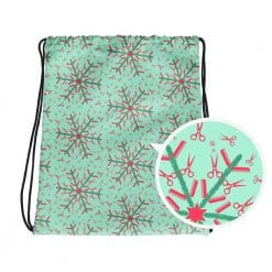 Hairdresser Drawstring Bag Mint Christmas Snowflake Pattern by Treaja® | Hairstylist Drawstring Sack Pack