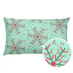 Hairdresser Pillow Reversible Red and Mint Christmas Snowflake Pattern by Treaja® | Hairstylist Christmas Pillow (with Stuffing)