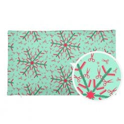 Hairdresser Pillowcase Reversible Red and Mint Christmas Snowflake Pattern by Treaja® | Hairstylist Christmas Pillow Case (without Stuffing)