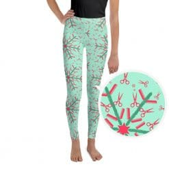 Hairdresser Youth Leggings Mint Christmas Snowflake Pattern by Treaja®