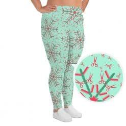 Hairdresser Plus Size Leggings Mint Christmas Snowflake Pattern by Treaja®