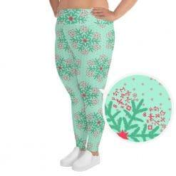 Math Plus Size Leggings Mint Christmas Snowflake Pattern by Treaja®