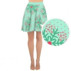 Math Skater Skirt Mint Christmas Snowflake Pattern by Treaja®