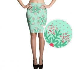 Math Pencil Skirt Mint Christmas Snowflake Pattern by Treaja®