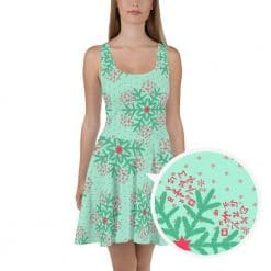 Math Skater Dress Mint Christmas Snowflake Pattern by Treaja®