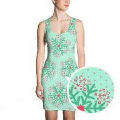 Math Dress Mint Christmas Snowflake Pattern by Treaja®