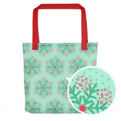 Math Tote Bag Mint Christmas Snowflake Pattern by Treaja®