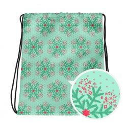 Math Drawstring Bag Mint Christmas Snowflake Pattern by Treaja®