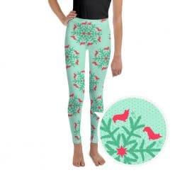 Corgi Youth Legging by Treaja® | Mint Christmas Corgi Lover Leggings for Youth