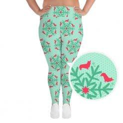 Corgi Plus Size Leggings by Treaja® | Mint Christmas Snowflake Corgi Lovers Leggings