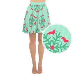 Corgi Skater Skirt Mint Christmas Snowflake Pattern by Treaja®