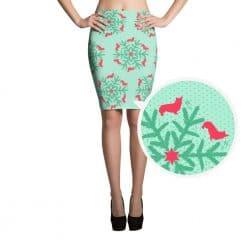 Corgi Pencil Skirt by Treaja® | Mint Christmas Corgi Lovers Snowflake Pencil Skirt
