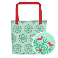 Corgi Tote Bag by Treaja® | Mint Christmas Corgi Lover Print Tote Bag
