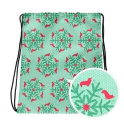 Corgi Drawstring Bag by Treaja® | Mint Christmas Snowflake Gym Sack Pack