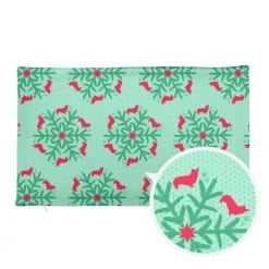 Corgi Pillowcase by Treaja® | Reversible Mint/Red Christmas Snowflake Pillow Cover (without Stuffing)