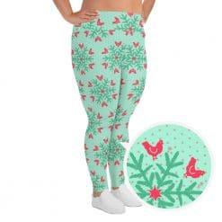 Chicken Leggings by Treaja® | Mint Christmas Snowflake Pattern Plus Size Leggings for Women