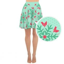 Chicken Skater Skirt by Treaja® | Mint Christmas SnowflakeSkirt