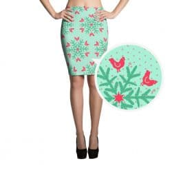 Chicken Skirt by Treaja® | Mint Christmas Snowflake Pencil Skirt