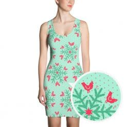 Chicken Dress by Treaja® | Mint Christmas Snowflake Dress