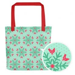 Chicken Tote Bag by Treaja® | Mint Christmas Snowflake Pattern Print Tote Bag