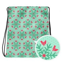 Chicken Drawstring by Treaja® | Mint Christmas Snowflake Pattern Sack Pack