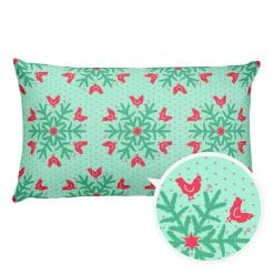 Chicken Pillow by Treaja® | Reversible Mint/Red Christmas Snowflake Pattern Pillow (Pillowcase and Stuffing)