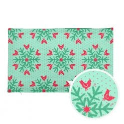 Chicken Pillowcase by Treaja® | Mint and Red Reversible Pillowcase Christmas Snowflake Pattern for Chicken Lovers