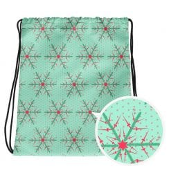 Fencing Drawstring Bag by Treaja® | Mint Christmas Snowflake Gym Sack Pack