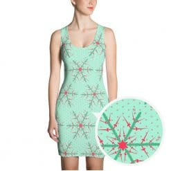 Fencing Dress by Treaja® | Mint Christmas Snowflake Body Fitting Dress