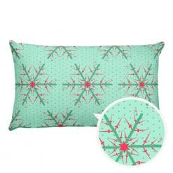 Fencing Pillow by Treaja® | Reversible Mint/Red Christmas Throw Pillow (Pillowcase and Stuffing)