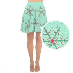 Fencing Skater Skirt by Treaja® | Mint Christmas Snowflake Skater Skirt