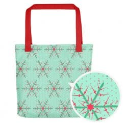 Fencing Tote Bag by Treaja® | Mint Christmas Snowflake Tote Bag
