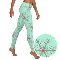 Fencing Leggings by Treaja® | Mint Christmas Snowflake Leggings for Women