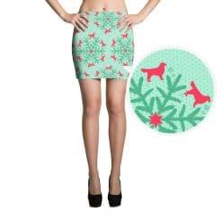 Golden Retriever Mini Skirt by Treaja® | Mini Skirt Mint Christmas Dog Lover Pencil Mini Skirt