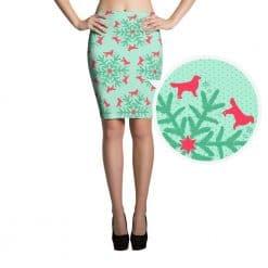 Golden Retriever Skirt by Treaja® | Mint Christmas Snowflake Dog Lover Pencil Skirt