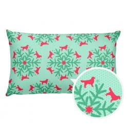 Golden Retriever Pillow by Treaja® | Reversible Mint/Red Christmas Snowflake Dog Lover Pillow (Pillowcase and Stuffing)