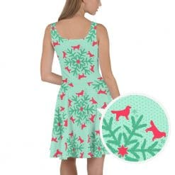 Golden Retriever Skater Dress by Treaja® | Mint Christmas Snowflake Dog Lover Fit and Flare Dress