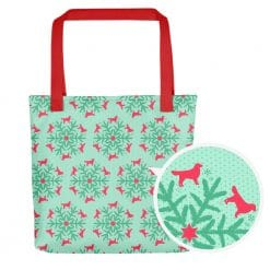 Golden Retriever Tote Bag by Treaja® | Mint Christmas Snowflake Dog Lover Tote Bag