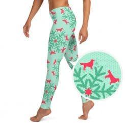 Golden Retriever Leggings by Treaja® | Mint Christmas Snowflake Dog Lover Leggings for Women