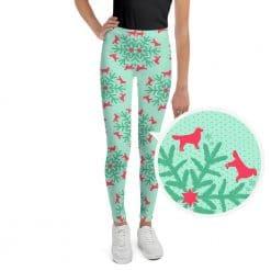 Golden Retriever Youth Leggings by Treaja® | Mint Christmas Leggings for Youth
