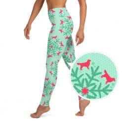 Golden Retriever Yoga Leggings by Treaja® | Mint Christmas High Waisted Leggings for Women