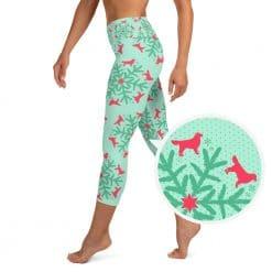 Golden Retriever Yoga Capri Leggings by Treaja® | Mint Christmas High Waisted Capri Leggings for Women