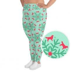 Golden Retriever Plus Size Leggings by Treaja® | Mint Christmas Dog Lover Leggings for Women
