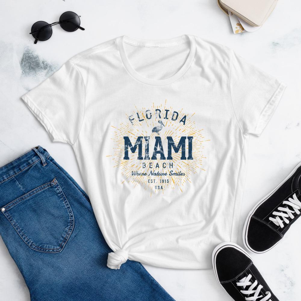 Miami Beach T-Shirt for Women by Treaja® | Vintage Miami Florida Shirt for Women